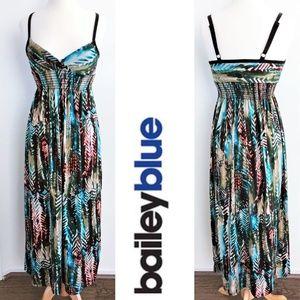 BAILEY BLUE v-neck ethnic print maxi dress size S